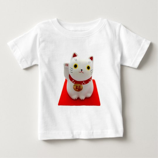 White Maneki Neko on a Red Carpet Baby T-Shirt