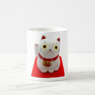 White Maneki Neko on a Red Carpet Coffee Mug