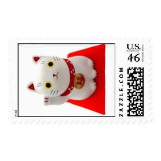 White Maneki Neko on a Red Carpet Stamps