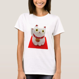 White Maneki Neko on a Red Carpet T-Shirt