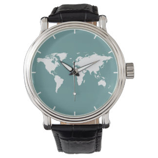 white map of the world wristwatch