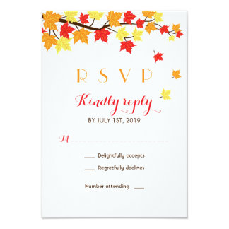 White Maple Leaves Fall Season Wedding RSVP Card
