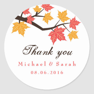 White Maple Leaves Fall Wedding Gift Label Sticker