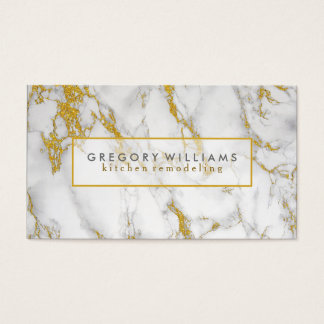 White Marble And Gold Accents Business Card