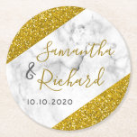 """White Marble And Gold Glitter Wedding Round Paper Coaster<br><div class=""""desc"""">White Marble And Gold Glitter Wedding Party Coasters- Elegant and unique marble gold  coasters to personalize with bride and groom names and wedding date.</div>"""