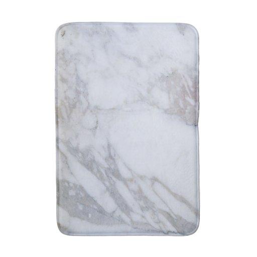 White Marble Bath Mat Zazzle
