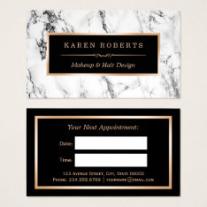 White Marble Beauty Salon Hair Dresser Appointment Business Card at Zazzle