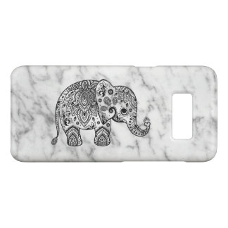 White Marble & Black Floral Paisley Elephant Case-Mate Samsung Galaxy S8 Case