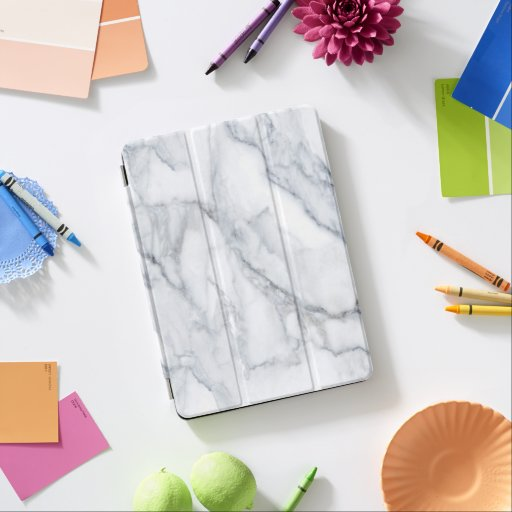 White Marble Carrara Calacatta Texture iPad Air Cover