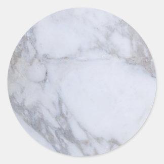 White Marble Classic Round Sticker