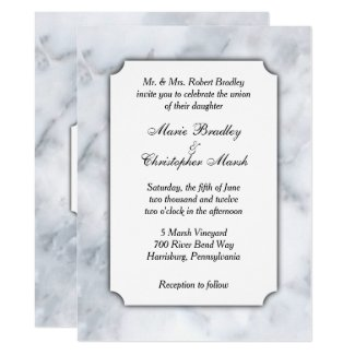 White Marble Classy Wedding Invitation