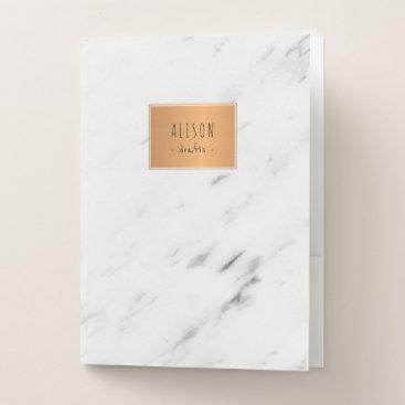 Beach Themed White marble copper geometric trendy chic school pocket folder