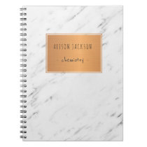White marble copper label trendy cool school notebook