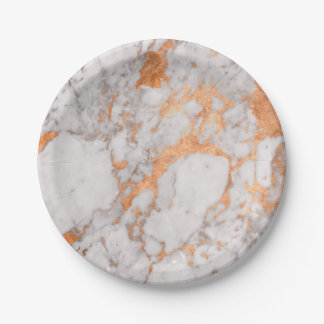 White Marble & Copper Paper Plate