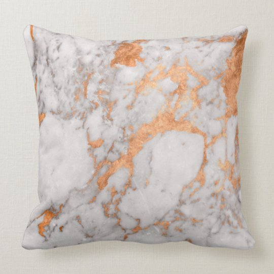 White Marble Amp Copper Throw Pillow Zazzle Com