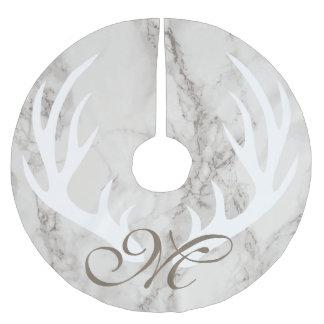 White Marble Deer Antlers Taupe Monogram Brushed Polyester Tree Skirt