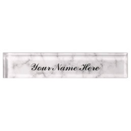 White Marble Desk Name plate