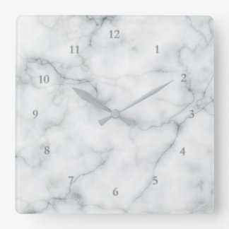 white marble elegant square wall clock
