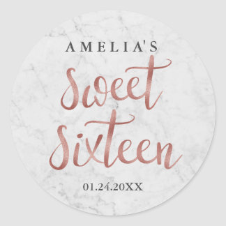 White Marble Faux Rose Gold Sweet Sixteen Sticker