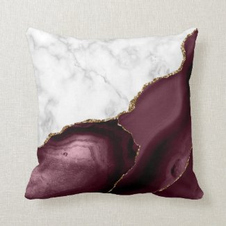 White Marble Gilded Burgundy Agate Throw Pillow