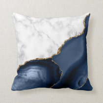 White Marble Gilded Navy Blue Agate Throw Pillow
