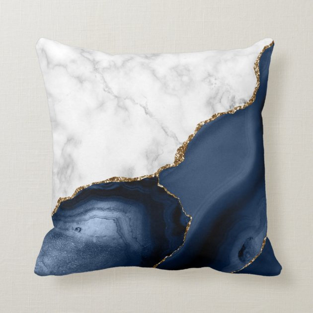 White Marble Gilded Navy Blue Agate Throw Pillow Zazzle Com