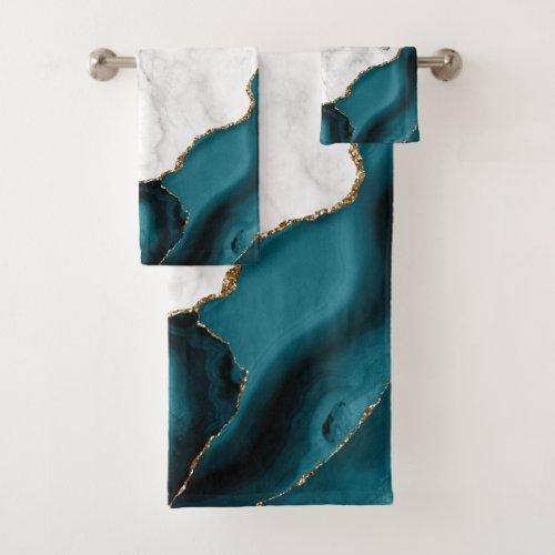 White Marble Gilded Teal Blue Agate Bath Towel Set