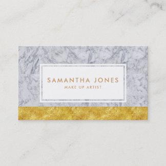White Marble Gold Leaf Make Up Artist Business Card