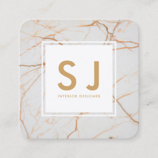 White Marble Gold Simple Modern Interior Designer Square Business Card