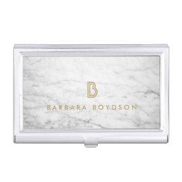 Decorative business card holders cases zazzle white marble interior designer card case colourmoves Gallery