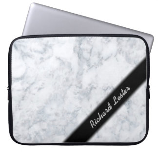 White Marble Look Computer Sleeve