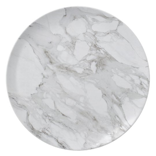 White Marble Melamine Plate Zazzle Com
