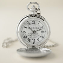White Marble Monogrammed Groomsman Wedding Party Pocket Watch