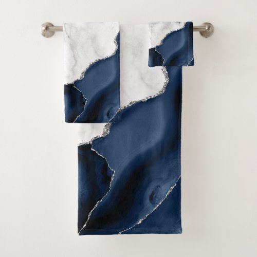 White Marble Navy Blue Agate Silver Glitter Bath Towel Set