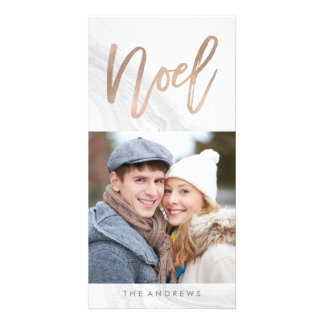 White Marble Noel | Holiday Photo Card in Bronze