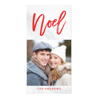 White Marble Noel | Holiday Photo Card in Red