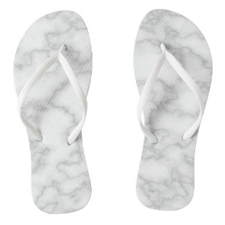 White Marble Print Flip Flops