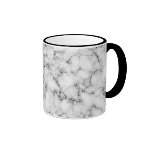 White Marble Ringer Coffee Mug