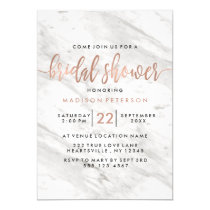 White Marble & Rose Gold Bridal Shower Invitation