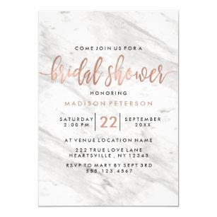 white marble rose gold bridal shower invitation