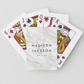 White Marble & Rose Gold Elegant Wedding Favor Playing Cards