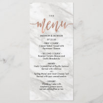 White Marble & Rose Gold Elegant Wedding Menu
