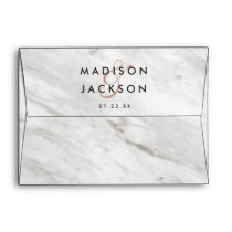 White Marble & Rose Gold Elegant Wedding Monogram Envelope