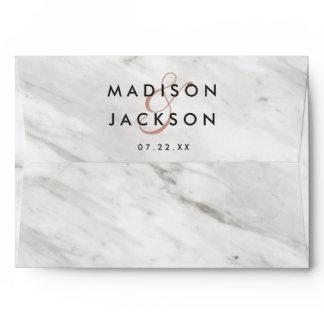 White Marble & Rose Gold Elegant Wedding Monogram Envelope
