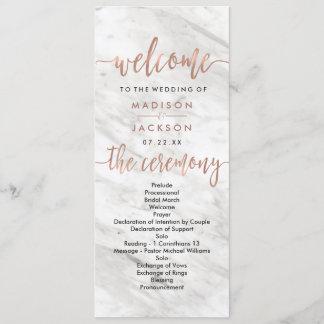 White Marble & Rose Gold Elegant Wedding Program