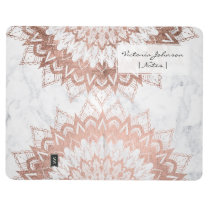 WHite marble rose gold floral mandala illustration Journal