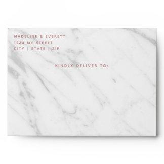 White Marble Rose Gold Geometric Wedding Monogram Envelope