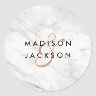White Marble & Rose Gold Modern Monogram Wedding Classic Round Sticker