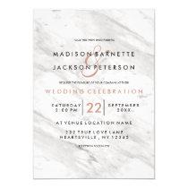 White Marble Rose Gold Modern Wedding Invitations