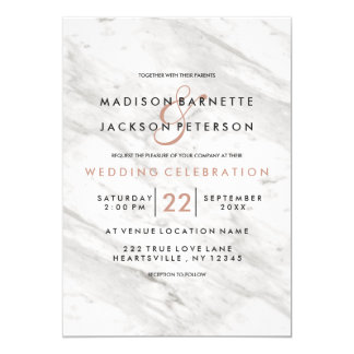 White Marble Rose Gold Modern Wedding Invitations